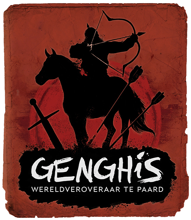 A branded illustration of Genghis Khan on horseback