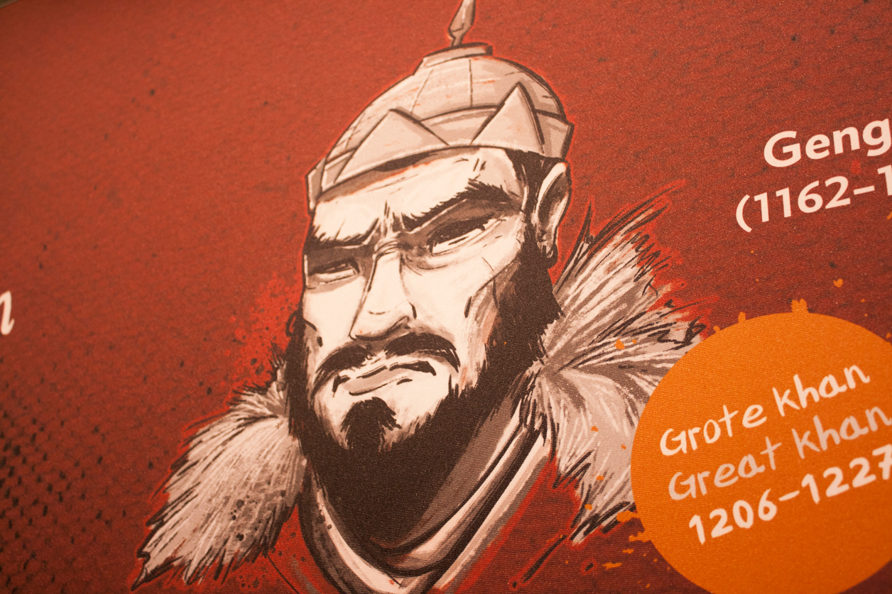 A close up on an illustrated portrait of Genghis Khan