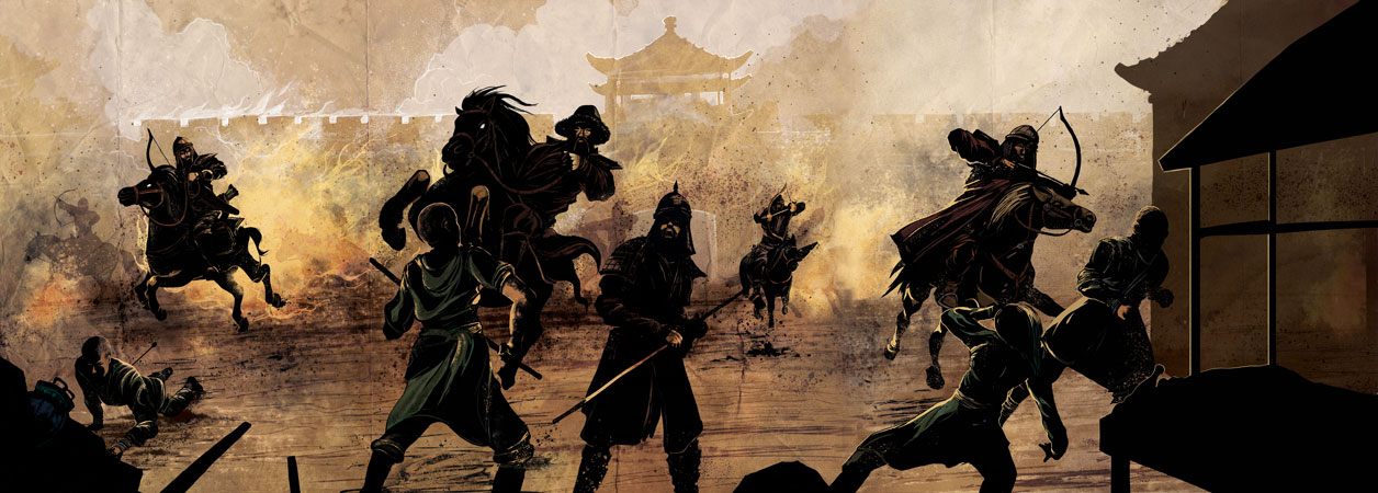 An illustration of the Mongol army laying siege to Beijing