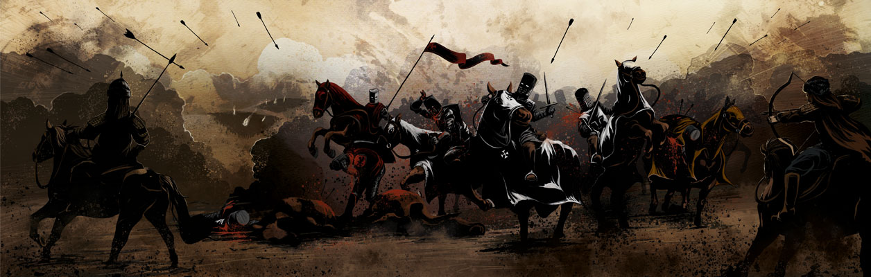 An illustration of the Mongols battling Teutonic Knights